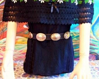 Mexican Blouse, Off shoulder, Black, Peasant blouse, size S/M