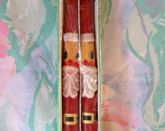 Candles, Santa Claus, 50s, Red, Christmas decor, kitch