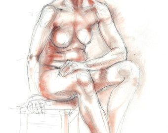 Nude pencil drawing with terracotta pastel. Life sketch. Female Nude, Female figure.  Art by Nancy Farmer. 2016-10