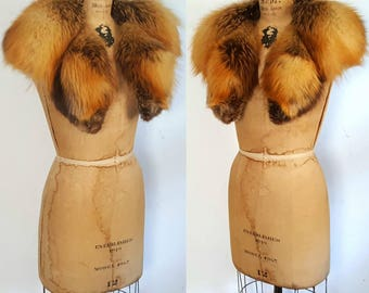 Red Rust Fox Fur Collar / Large