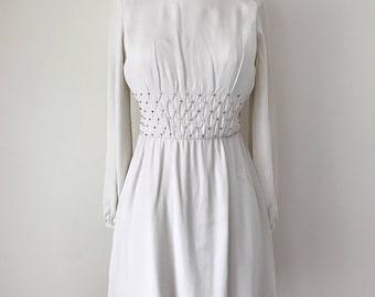 1960s White Mini Dress with Rhinestones