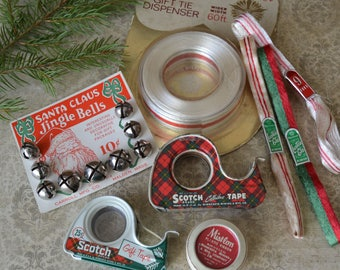 Vintage Christmas Ribbon Bells Scotch Tape Dispensers Gift Wrapping Supplies