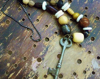 Wood and Bone Beaded Necklace with vintage Skeleton Key - Boho style - One of a Kind - bycat