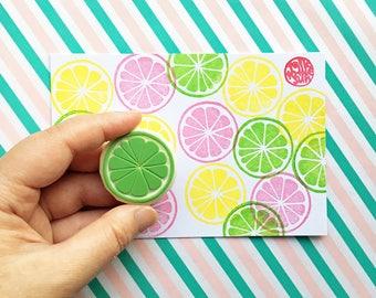 citrus slice rubber stamp. lemon lime orange grapefruit stamp. fruit hand carved stamp. summer crafts. birthday scrapbooking. medium