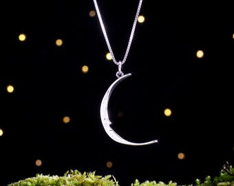 Sterling Silver Mod Moon Face - Double Sided - (Pendant or Necklace)