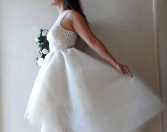 TULLE SKIRT Ivory to Gold/Robe de Mariée/ Asymmetrical High- Low/ 5 Tones/Wedding Gown/ Bridal Separates/ Cocktail Dress/ dégradé de couleur