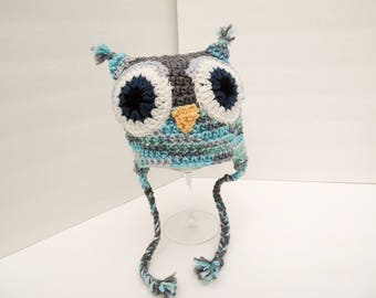 Owl Hat, Little Hoot, Youth Size Blue & Grey