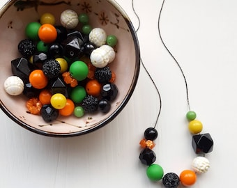 aynsley necklace - black, orange, kelly green - statement jewelry - bright necklace - chunky necklace - vintage beads