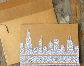Chicago Skyline card Recycled Envelope Chicago Flag Blank Inside