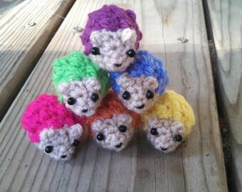 Rainbow Hedgehogs - crochet hedgehog miniature hedgehog tiny amigurumi hedgehog ornament pink hedgehog micro crochet rainbow pride symbols