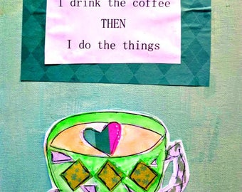 """Teacher Gift Coffee Cup 8.5"""" x 11"""" Wonder Original Flat Canvas Drink Coffee Inspiration Painting Mixed Media Teal Pink FREE SHIP"""