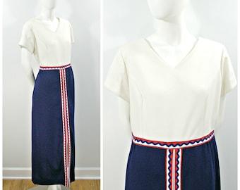 Vintage Long Dress, 70s Red White and Blue Polyester Dress, Short Sleeve Ribbon Detail Maxi Dress, V Neck Long Dress Size XL