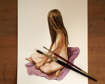 nude woman with long hair sitting watercolor painting figure art