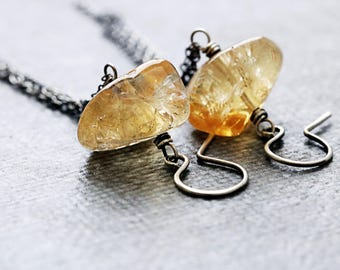Citrine Earrings | November Birthstone Earrings | Gypsy Soul Yellow Earrings | Bohemian Earrings | November Birthday | Sterling Silver