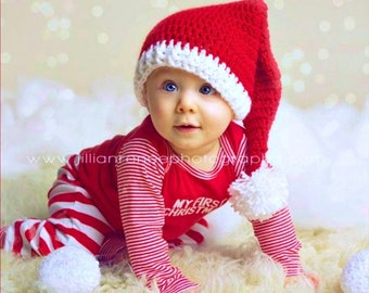 Baby Santa Hat, Crochet Santa Hat, Santa Baby Hat, Newborn Santa Hat, Christmas Baby Hat, Baby Elf Hat