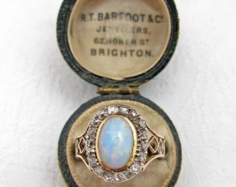 1816 Georgian Opal & Rose Cut Diamond Ring w/ Engraving