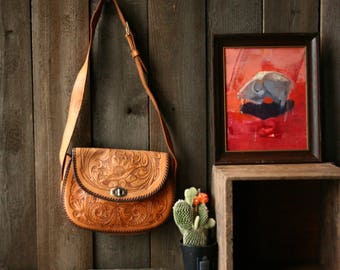 Hand tooled Leather Purse Crossbody Saddle Bag Country Western Vintage From Nowvintage on Etsy