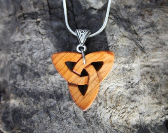 Hand-carved Triquetra Necklace, Irish Yew Wood Trinity Symbol, Unique Irish Charm Necklace, Trinity Celtic Knot Necklace, Irish Jewelry