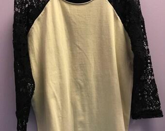 Personalized Black Crocheted Sleeves Baseball T-Shirt