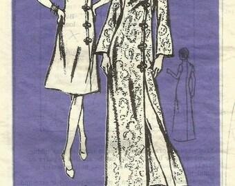 Vintage 60s Prominent Designer Mail Order A670 Misses UNCUT Asian Caftan or Dress Sewing Pattern Size 18 Bust40