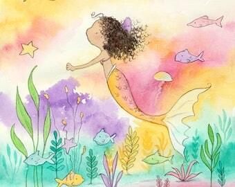 The Ocean Floor - Curly Brunette Mermaid -  Art Print