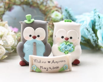 Unique Owl wedding cake toppers - owls bride and groom figurines country farm barnyard woodland pastel colors wedding decor light blue green