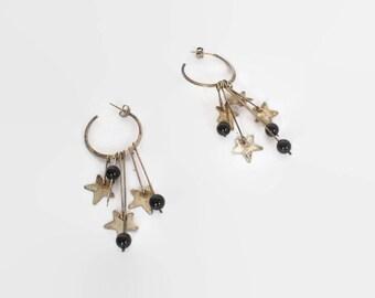 Vintage 70s STERLING Earrings / 1970s Sterling Silver STARS Beaded Pierced Hoop Earrings