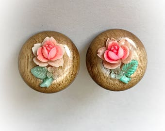 Vintage Wood Dome Earrings with Plastic Roses Clip On