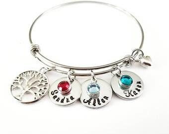 Family Tree Bracelet, Tree of Life, Grandma Gift, Grandma Bracelet, Grandmother Jewelry, Mom Gift, Mom birthstone bracelet, Name bracelet,