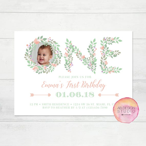 Floral First Birthday Invitation Girls 1st Birthday Invitation