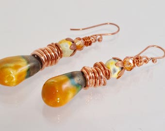 Marigold Gold Earthy Sunset Ceramic Agate Copper Drop Earrings Boho Chic Autumn