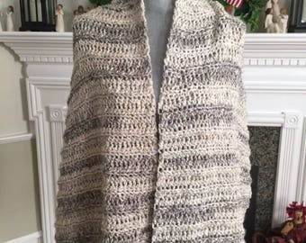 handmade crochet shawl wrap scarf afghan chunky bulky yarn MINERAL beige gray variegated soft stretchy warm new #2850