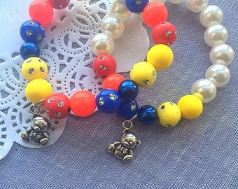Paddington inspired bracelet, teddy bear jewelry, paddington inspired jewelry, SET of TEN, teddy bear party, kids birthday party.