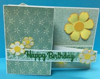 Joyful Handmade Happy Birthday Z-Fold Card/Gift Card Holder