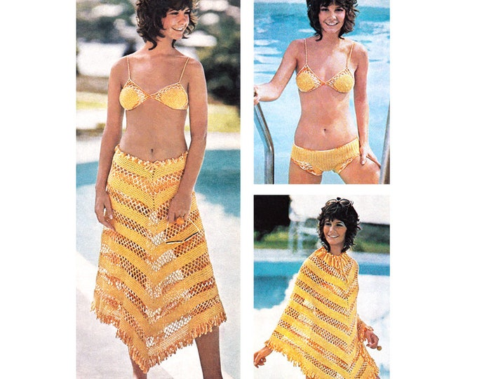 Bikini Crochet Pattern Poncho Beach Cover Bathing Suit Mesh Skirt Women Instant Download