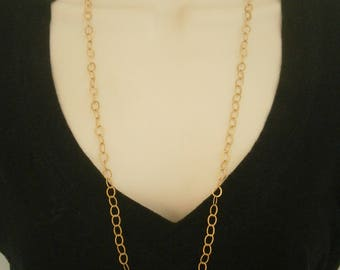 Long Layering Necklace, Gold Cable Chain Necklace, Simple Gold Necklace