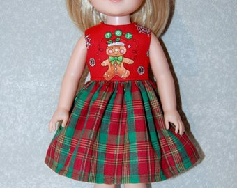 """Dress for 14"""" Wellie Wishers or Melissa & Doug Doll Clothes Christmas Gingerbread tkct1176 READY TO SHIP"""