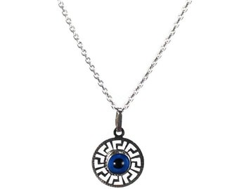Evil eye necklace - Blue eye -  Greek key - 925 sterling silver - protection - Greek jewelry