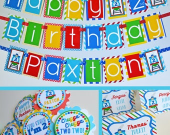 Train Birthday Party Decorations Package Fully Assembled | Trains Birthday Party | Blue Train Party | Blue Train Birthday | First Birthday |