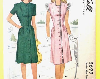 McCall 5699 1940 Dress Pattern Vintage Sewing Pattern Bust 30 inches