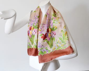 40s/50s Floral Rectangular Silk Scarf