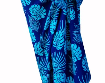 Hawaiian Beach Sarong Wrap Cobalt Blue & Turquoise Jungle Leaf Batik Pareo Women's Aloha Skirt Long Beach Skirt Batik Sarong Skirt or Dress