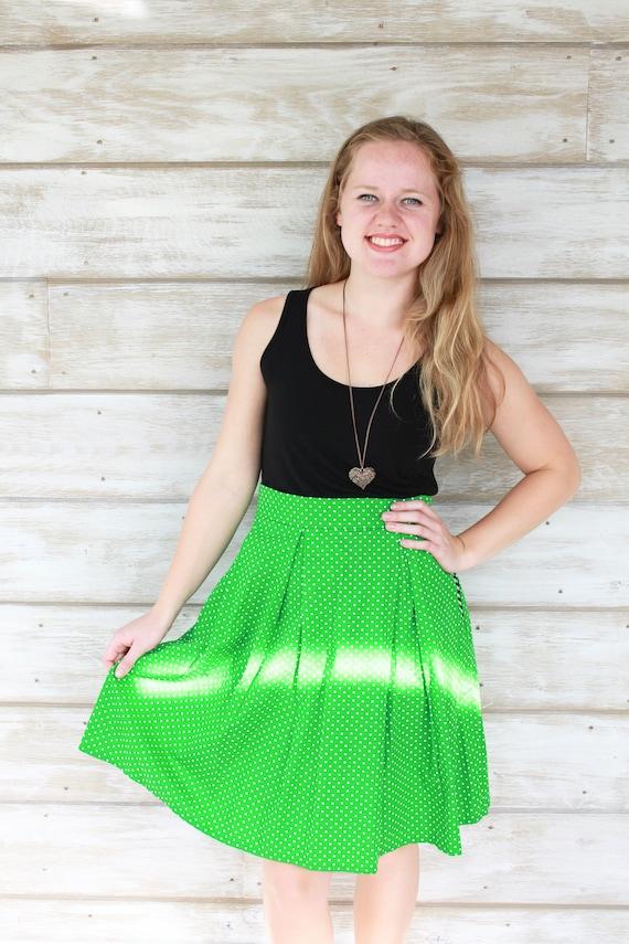 Green Skirt, Pleated Skirt, Christmas Gift Idea, Skirt with Pockets, Cotton Skirt, Knee Length Skirt, A Line Skirt, Womens Skirts, Polka Dot