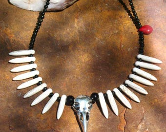 Morrigan Raven 'Bone and Blood' Ritual Necklace