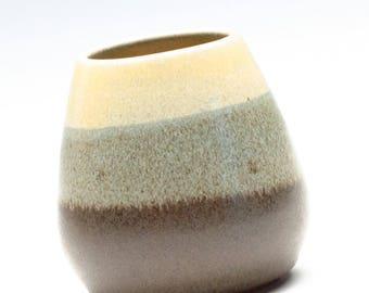 Golden Yellow Dark Brown Semi Matte Small Vase / Pottery Vase