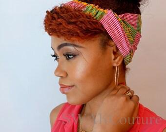Satin Lined Headband Wide Headband Wrap Pineapple Bun Wrap Ankara African Print Wrap Turban -Pink Dynasty or Choose Print