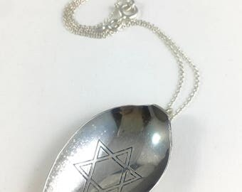 Star of David Necklace, Star of David Jewelry, Star of David Charm, Silver Star of David, Spoon Necklace, Wife Gift, Jewish Gift