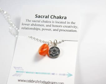 Sacral Chakra Necklace - Chakra Necklace - Silver Chakra Necklace - Sacral Chakra Charm - Yoga Necklace - Yoga Gift - Ready To Ship