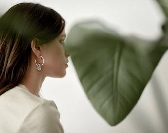 Tiny Crest Earrings - unique hand cut stone hoop earrings alunite green grossular polka dot agate