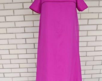 60s magenta formal dress, extra small vintage maxi, 1960s bridesmaid prom dress